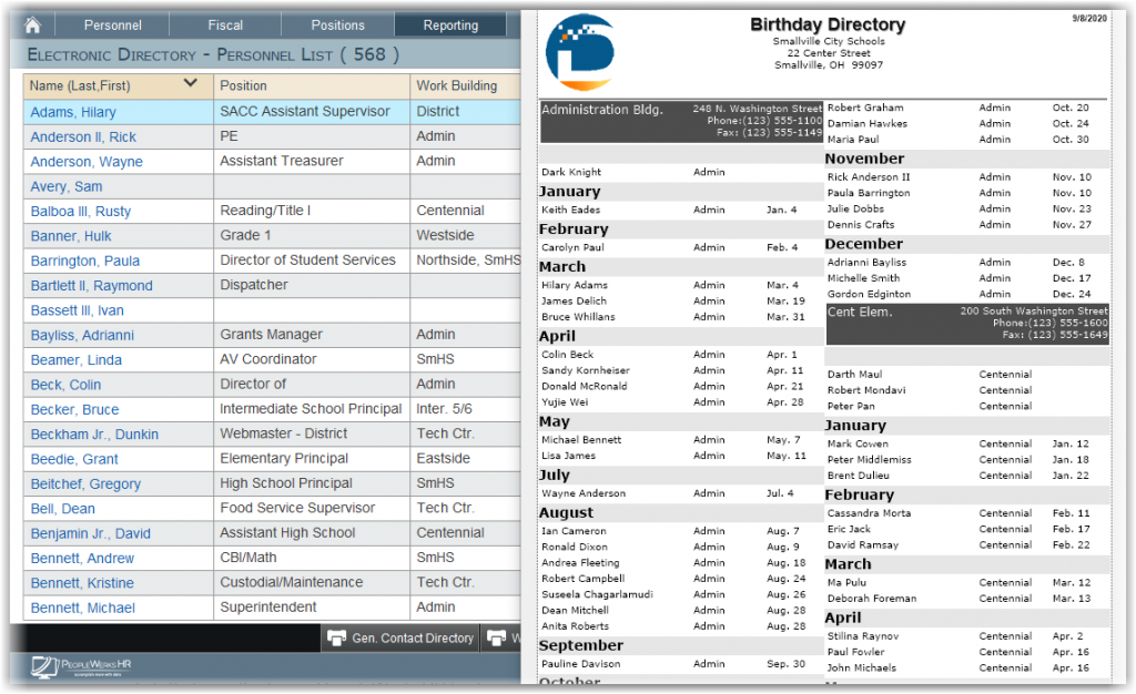 Example Birthday Directory